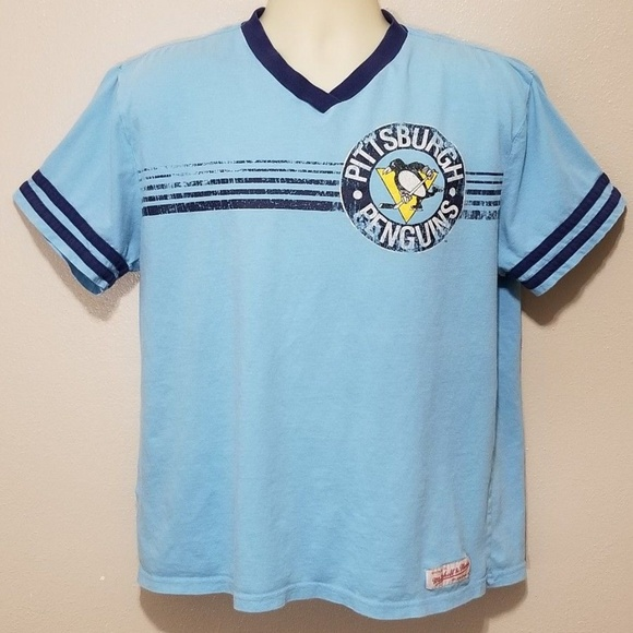 reputable site af160 df8db Mitchell Ness Retro Pittsburgh Penguins Tshirt